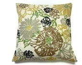 Decorative Pillow Cover Olive Green Yellow Gold Brown Gray Black Same Fabric Front/Back Modern Floral Toss Throw Accent Cover 18x18 inch x
