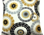 RESERVED CLAUDIA Two Black Cream Yellow Gold Gray Pillow Covers Decorative Circles Toss Throw Accent Covers 16 inch