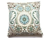 Two Blue Sage Green Taupe Brown Pillow Covers Decorative Throw Toss Accent Paisley Damask 16 inch