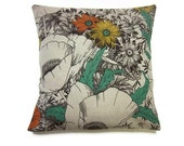 Decorative Pillow Cover Teal Gray Linen Tangerine Black Toss Throw Accent Modern Floral 16 inch