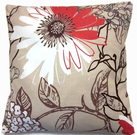TWO Red Brown White Tan Pillow Covers Handmade Decorative Floral 16 inch pair