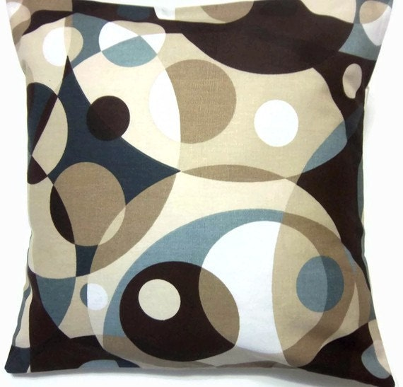 Two Blue Brown Tan Cream White Pillow Covers Geometric Toss