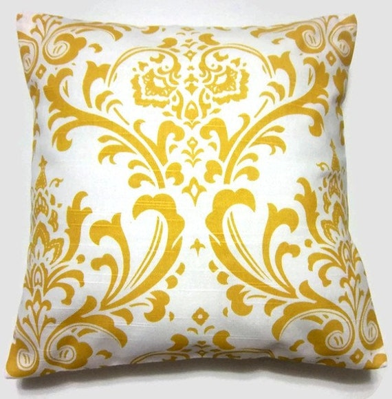 Decorative Pillow Cover Yellow White by LynnesThisandThat on Etsy