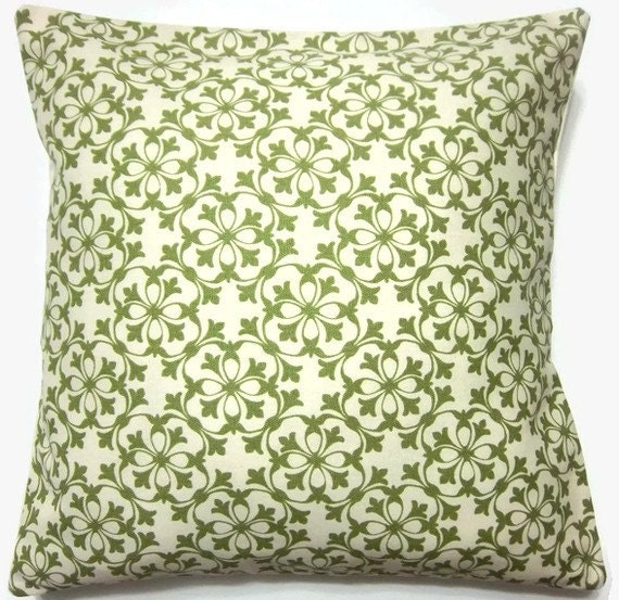 Olive Green Decorative Pillow : Two Olive Green White Pillow Covers Handmade Decorative