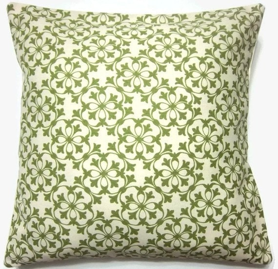 Two Olive Green White Pillow Covers Handmade Decorative