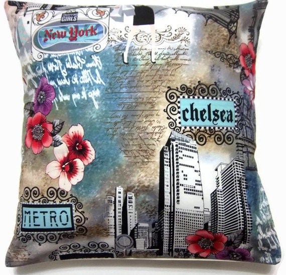 Decorative Pillow Cover One  Blue Red Black White New York Design Novelty Print Toss Throw Accent  16 inch