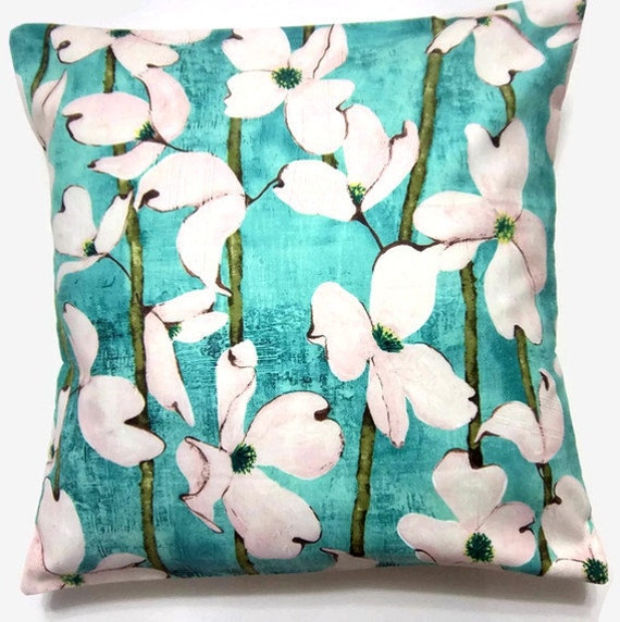 Two Aqua White Olive Brown Pillows Covers Dogwood  Decorative Toss Throw Accent Pillow Covers 16 inch