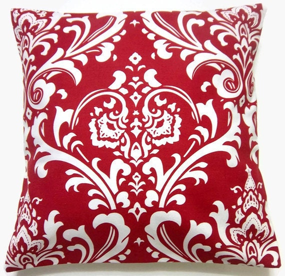 Red Throw Pillows Etsy : REServed Two Red White Pillow Covers by LynnesThisandThat