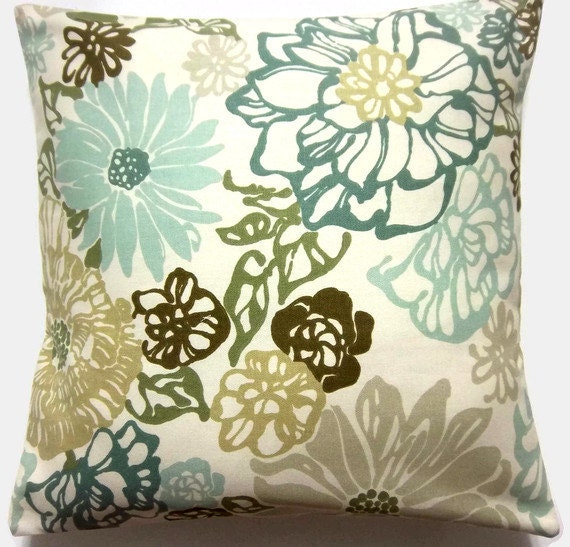 two teal mint olive green brown pillow covers handmade. Black Bedroom Furniture Sets. Home Design Ideas