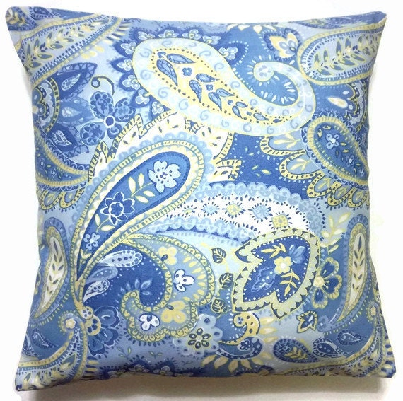 Decorative Pillow Cover Powder Blue Midnight Blue Yellow White Paisley Handmade Tradtional Toss Throw Accent Cover 16x16 inch