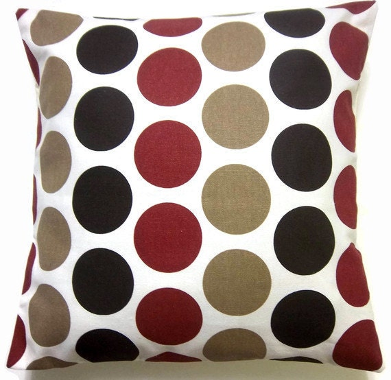 Red And Tan Decorative Pillows : RESERVED for Sara Two Dark Brown Red Tan White Pillow Covers