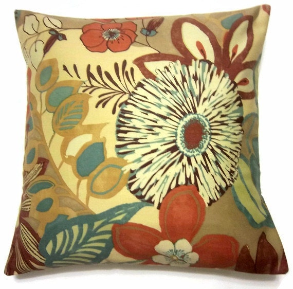 Two Yellow Chutney Rust Teal Brown Pillow Covers Modern Floral Throw Toss Accent Covers 16 inch pair