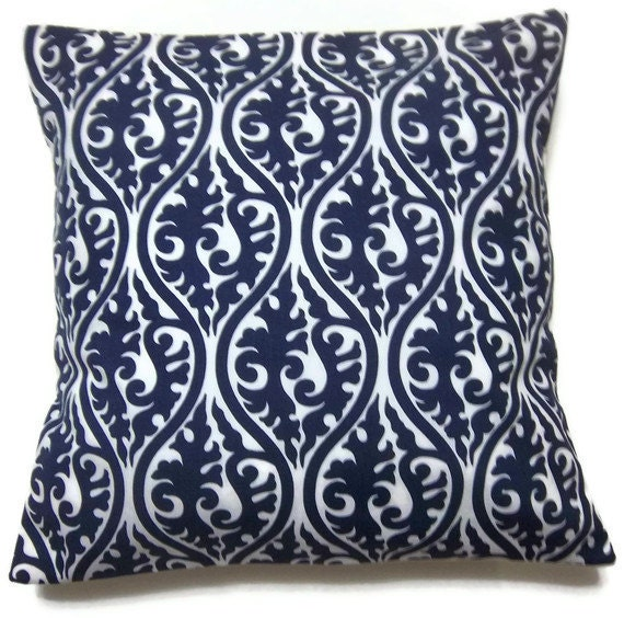 RESERVED Two Navy Blue White Pillow Covers Decorative Damask