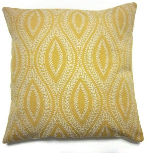 Two Yellow White Pillow Covers Damask Woven Decorator Fabric Toss Throw Accent Pillow Covers 16 inch