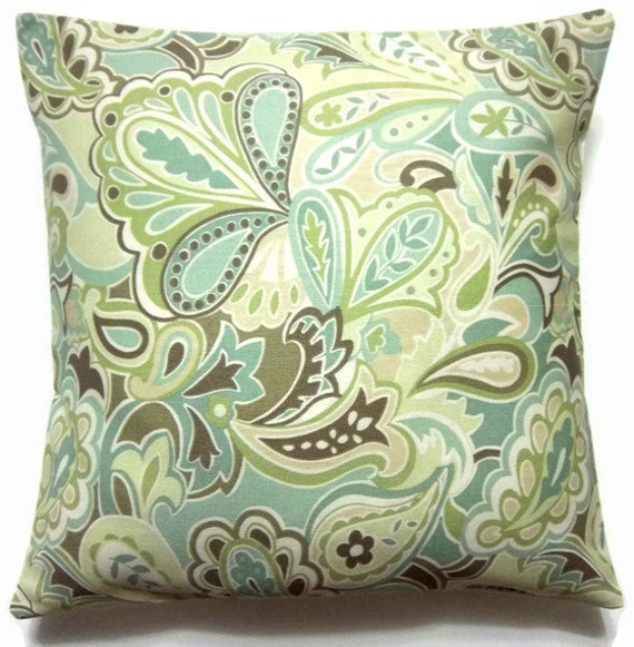 Two Green White Brown Blue Paisley Pillow Covers Handmade 16 inch    c