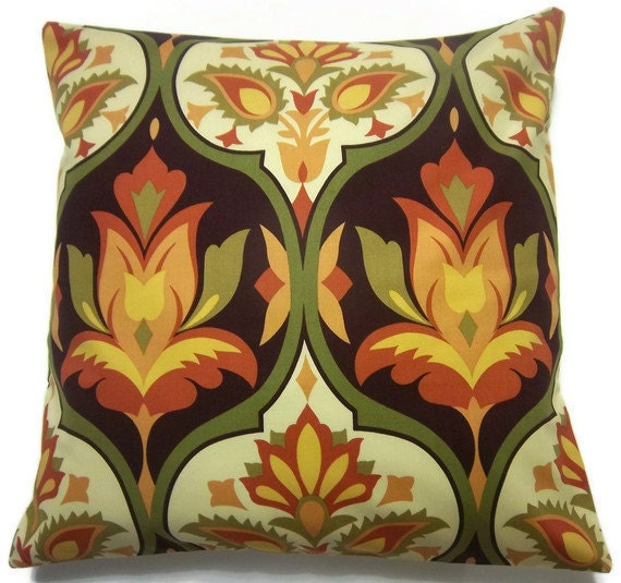 Yellow Brown Throw Pillows : Two Tangerine Orange Olive Yellow Brown Pillow Covers