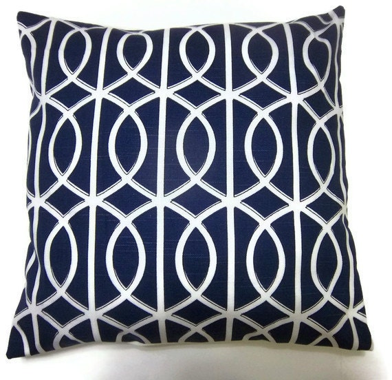 two navy blue white pillow covers geometric damask 16 inch. Black Bedroom Furniture Sets. Home Design Ideas