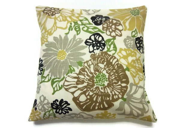 Decorative Pillow Cover Olive Green Yellow Gold Brown Gray