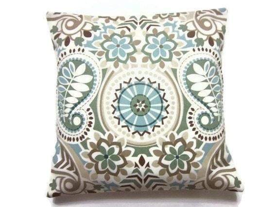 Two Blue Sage Green Taupe Brown Pillow Covers Decorative Throw