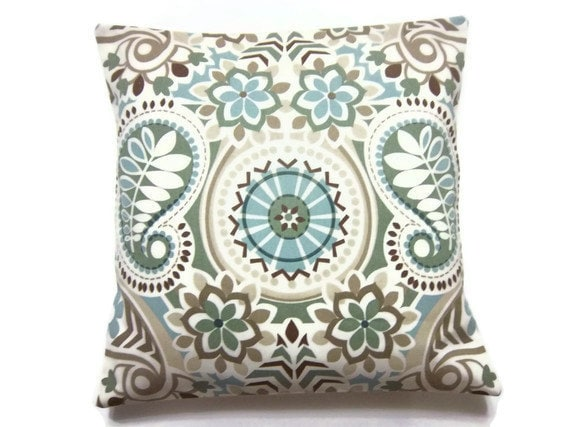 decorative pillow cover sage green blue taupe brown throw toss accent paisley damask same fabric front - Blue Decorative Pillows