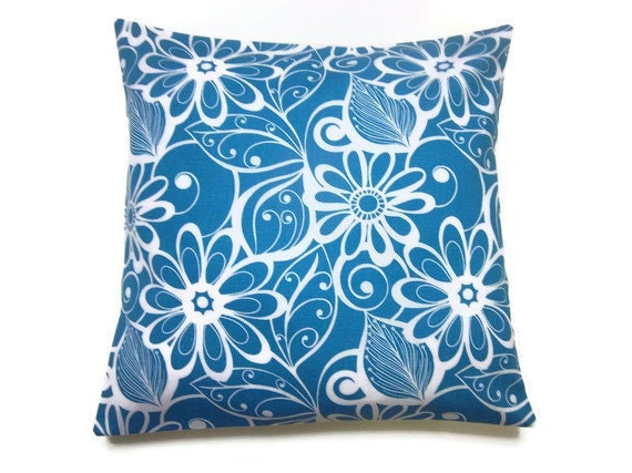 Lynne's Bargain Basement Section Decorative Pillow Cover Deep Sky Blue White Modern Floral Design Toss Throw Accent  16 x16 inch