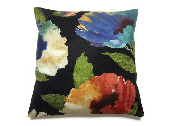 RESERVED  Decorative Pillow Black Blue Green Turquoise Red Cream Modern Floral Accent Throw Toss Pillow Cover 16 inch
