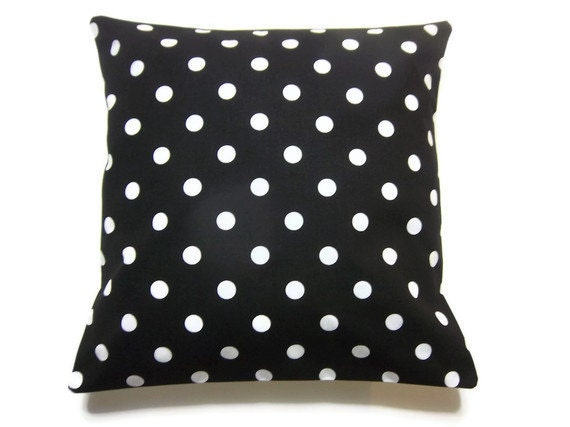 Two Black White Polka Dot Pillow Covers Decorative Throw Toss