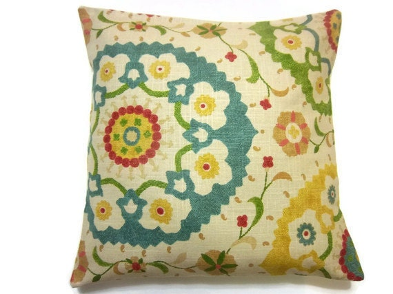 Two Yellow Green Red Blue Pillow Cover by LynnesThisandThat