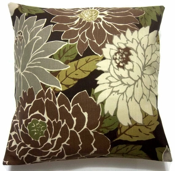 Two brown gray olive cream pillow covers decorative floral for Brown and gray throw pillows