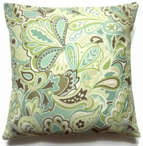 two green white brown blue paisley pillow covers decorative. Black Bedroom Furniture Sets. Home Design Ideas