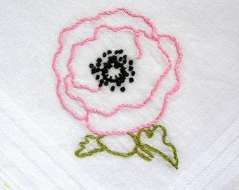 pink  poppy -  handkerchief