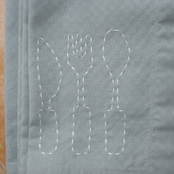 SALE - silverware - dinner napkins for four