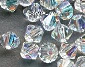 Genuine Swarovski Crystal Bicone Beads 5301 4mm Clear AB - 24 pcs