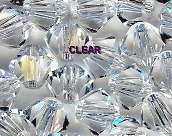 Genuine Swarovski Bicone Crystal Beads 5301 4mm Clear - 24pcs