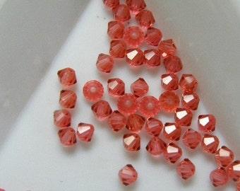 Genuine Swarovski Crystal Bicone Beads 5301 4mm Padapraschada 24pc