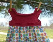 Bright Dots Sundress with Hand Knit Cotton Bodice size 2-3