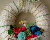 Bonjour Pretty Bird Spring Yarn Wreath