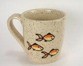 Handmade Orange and Yellow Fish Stoneware Coffee Mug, 7 Ounces