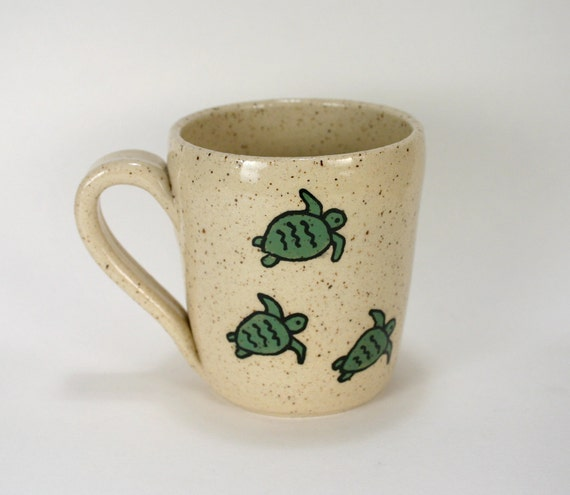 Handmade Turtle Stoneware Coffee Mug, 10 Ounces