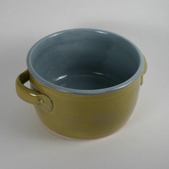 Handmade Green and Blue Stoneware Casserole Dish, 24 Ounces, 50% Off Sale
