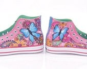 Colorful Painted Butterflies Paisleys and Flowers on Converse Chucks HI tops for Women