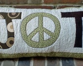 Custom Personalized Monogram Pillow. A Peace Sign with Initials on either side.