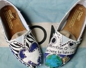 Cheer Team Spirit Design painted on YOUR TOMS with Mega Cystals added