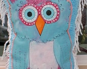Hand Painted Baby Blue Owl on cotton chenille with vintage trim