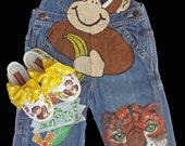 Painted Monkey Zoo themed Overalls for GIrls