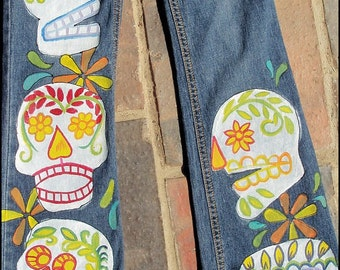 Sugar Skull Clothing, Urban Gypsy Clothing, Hand Painted Jeans, Custom Hand Painted Sugar Skulls, Calaveras, Day of the Dead, painted Jeans