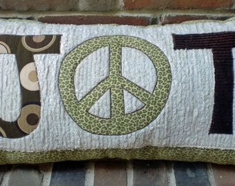 Bohochic Peace Decor, Monogram Pillow, Boho Bedroom Decor, Entry Bench, Initial Pillow, Bench Cushion, Teen Room Decor, Personalized Pillow