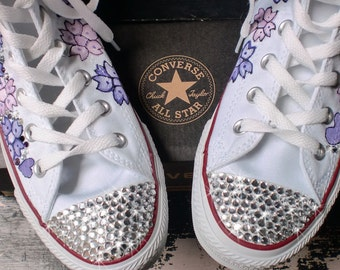 Wedding Converse, Customized Converse, Crystallized Kicks, Converse High Tops, Cherry Blossom Shoes, Butterfly, BLING Converse, Hi top Shoes