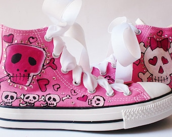 Converse Shoes, Custom Bling Pink Shoes, Hand Painted Skulls, Handpainted High Tops, Gothic Chucks for Women, Music Festival Sneakers, Topic