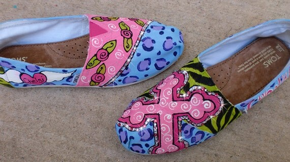 Custom Hand Painted TOMS funky cheetah leopard zebra print cross and roses in pastels and bright colors